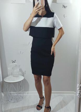 Платье двойное черное из двух частей офисное