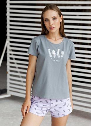 Пижама двойка шорты и футболка