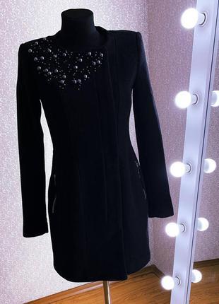 Женское черное шерстяное пальто/женская куртка