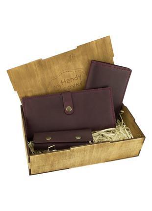 Подарочный набор женский handycover №45 (бордовый) кошелек, обложка, ключница в коробке