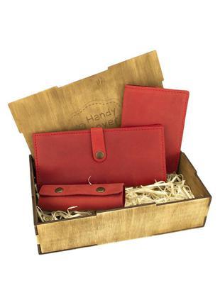 Подарочный набор женский handycover №45 (красный) кошелек, обложка, ключница в коробке