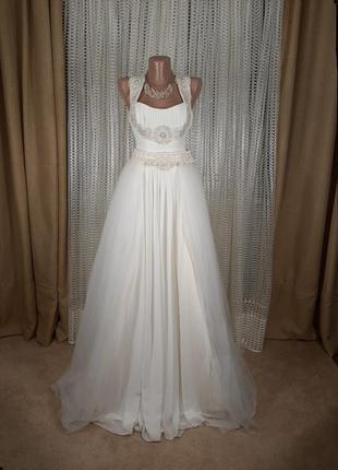 Раскошное свадебное платье в греческом стиле айвори цвет