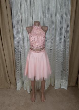 Роскошный костюм юбка топ платье танцевальное вечернее свадебное вышето камнями