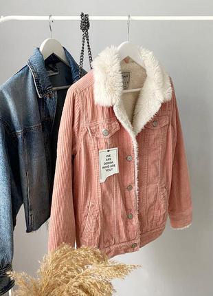 Вельветовая куртка шерпа на меху denim co