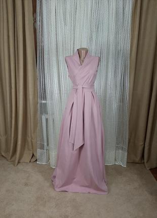 Шикарное вечернее платье длинное в пол с карманами нарядное свадебное