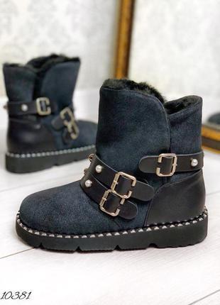 10381 зимние кожаные угги ботинки