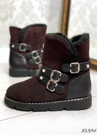 10384 коричневые кожаные ботинки угги