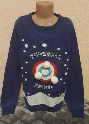 Свитер новогодний  спортивный синий для мальчика 11-12лет,рост 146-152см от lily&dan