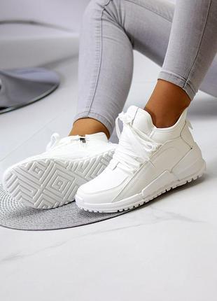 """Спортивные ботинки """"witi"""" женские белый экокожа флис спортивні черевики жіночі білий екокожа фліс"""