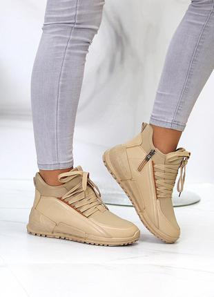 """Спортивные ботинки """"witi"""" женские беж экокожа+дайвинг флис спортивні черевики жіночі беж екокожа"""