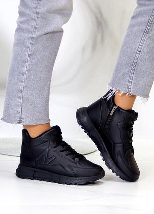 """Спортивные ботинки """"snowfall"""" женские черный экокожа экомех спортивні черевики жіночі чорний екокожа"""