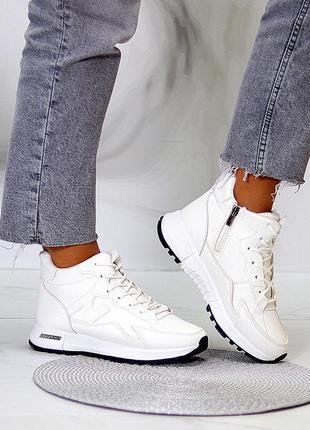 """Спортивные ботинки """"snowfall"""" женские белый экокожа экомех спортивні черевики жіночі білий екокожа"""