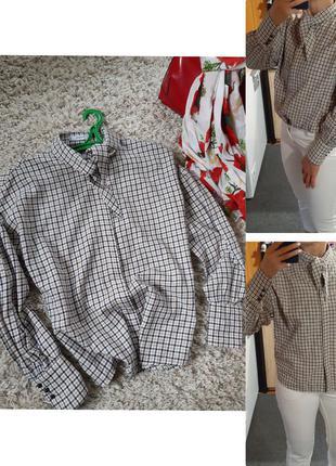Стильная блуза/рубашка в клетку  с обьемными рукавами, mango, p.s-m