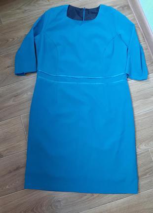 Платье прямого покроя бирюзовое