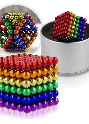 Цветной neocube mix 216 шариков 5 мм в кейсе (неокуб - радуга) детская головоломка магнит