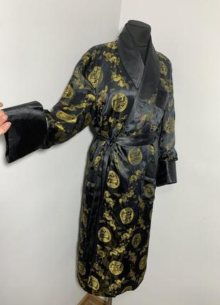 Халат атлас с шалевым воротом кимоно китайский аристократ