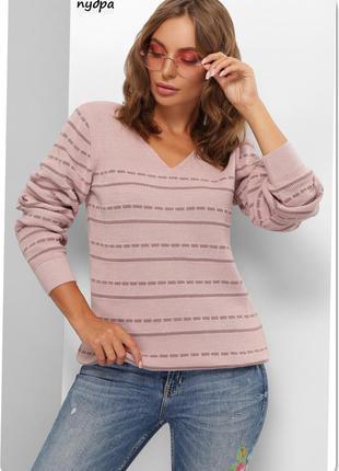 Есть расцветки! свитер вязаный с v-образным вырезом в полоску, джемпер 44-48 размер