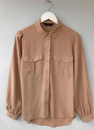 Бежева сорочка прямого крою f&f m, бежевая коричневая рубашка прямого кроя