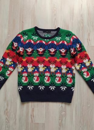 Новогодняя рождественская кофта свитшот свитер реглан george 8-9лет