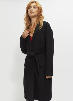 Новое пальто халат ikks франция 100% шерсть на запах чёрное оверсайз жакет бойфрендз кардиган