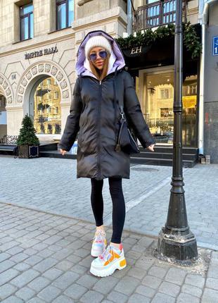 Двухсторонняя куртка женская миди деми весна осень теплая зима на синтепоне пуховик