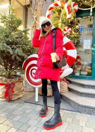 Двухсторонняя куртка женская миди деми весна осень теплая зима на синтепоне