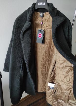 Новая шуба colmar италия меховое пальто оверсайз teddy оригинал чёрное и бежевое