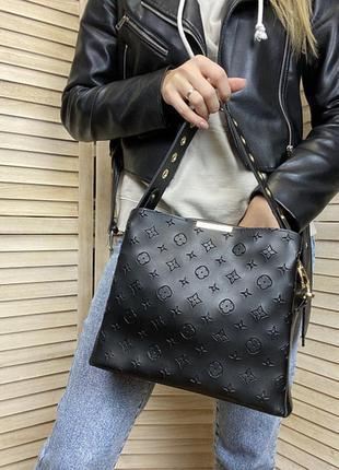 Женская сумка на плечо чёрная с широким плечевым ремнём, стильная сумочка