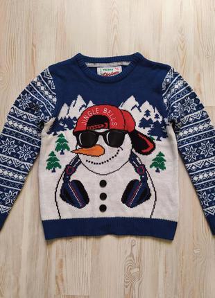 Новогодняя рождественская кофта свитшот свитер от rebel на 9-10лет