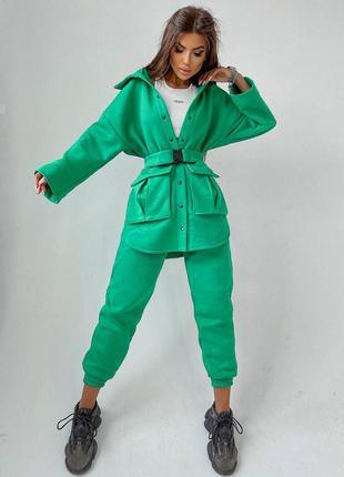 Женский тёплый комплект рубашка и джоггеры 🍁❄️