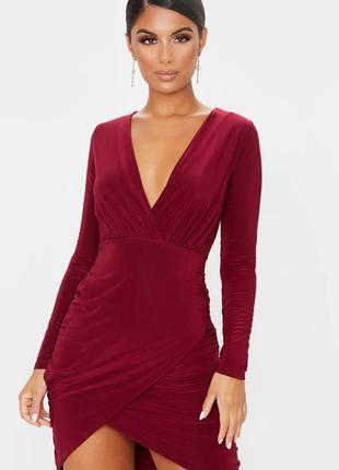 Pretty little thing платье бордо бордовое марсала бургунди жатое по фигуре с рукавом