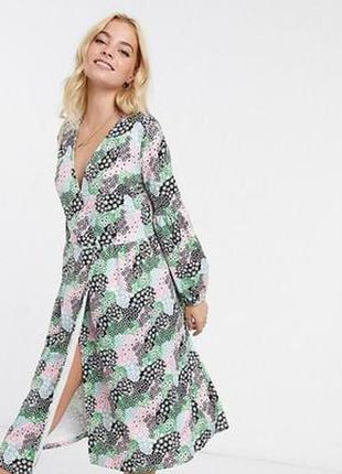 Asos асос платье белое чёрное зелёное розовое на запах миди оверсайз свободное