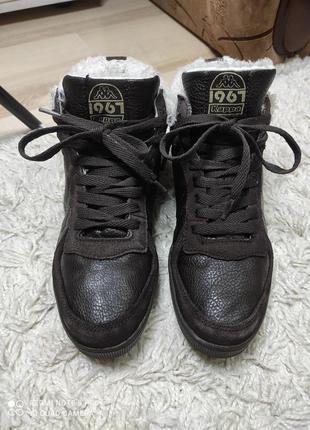 Утепленные кожаные высокие кроссовки кеды kappa на меху  - на стопу 24-24,5 см