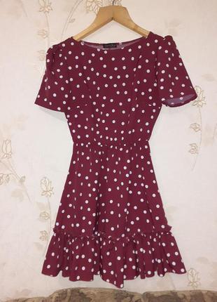Платье в горошек в бордовом цвете(пояс в комплекте)
