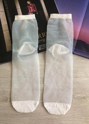 Прозрачные носки с люрексом
