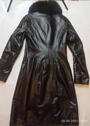 Пальто кожанное зимнее женское  натураньный мех florenza подростка девушки