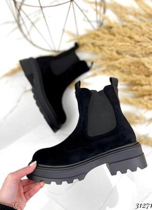 31271 ботинки челси зимние, эко-замша