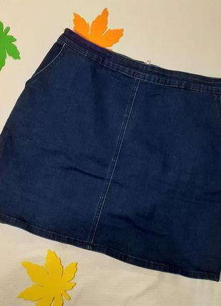 Юбка с карманами джинсовая ждинс удобная мини короткая