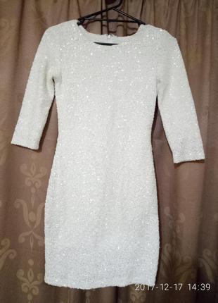 Платье вечернее коктейльное пайетки xs