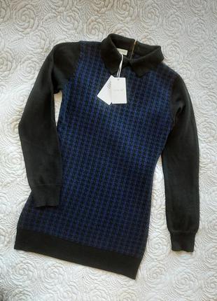 Тёплое вязаное мини платье bluoltre свитер сукня плаття в стиле balmain off white