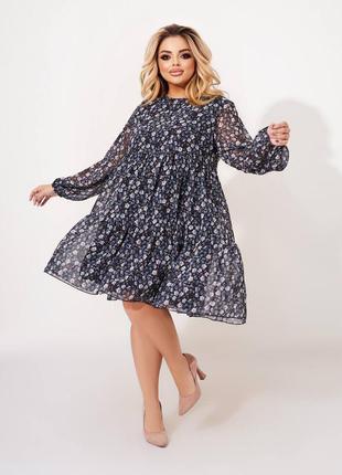 Лёгкое шифоновое платье сарафан цветочный принт свободного кроя трапеция кра