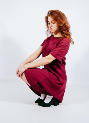 Теплое платье зимнее, трикотажное платье солнце клеш, демисезонное платье, сукня, плаття