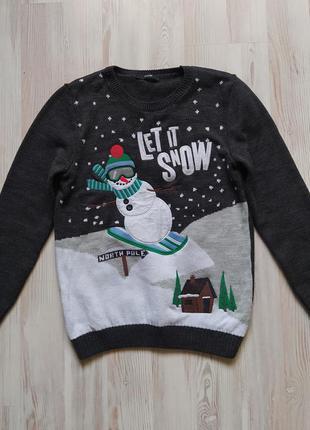 Новогодняя рождественская кофта свитшот свитер реглан george на 12-13лет