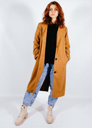 Женское пальто осеннее, длинное пальто коричневое, женский тренс осенний, длинный тренч