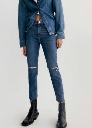 Базовые джинсы темно синие с дырками slim fit hi-rise zara s m 34 36