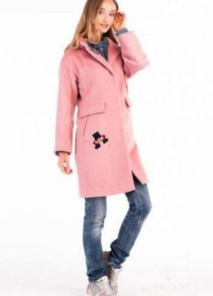 Новое молодёжное розовое пальто милхан с нашивками и шикарной подкладкой