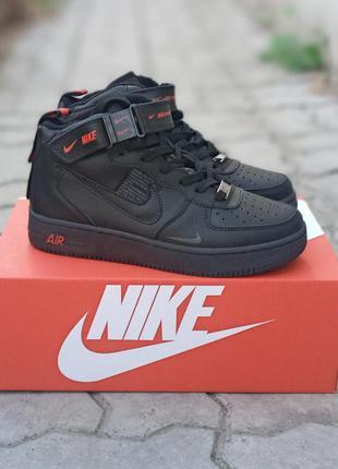 Подростковые термо кроссовки nike air force кожаные, черные,  хайтопы