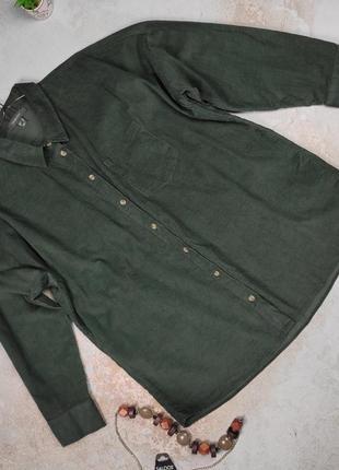 Блуза рубашка хлопковая зеленая микро вельвет uk 14/42/l