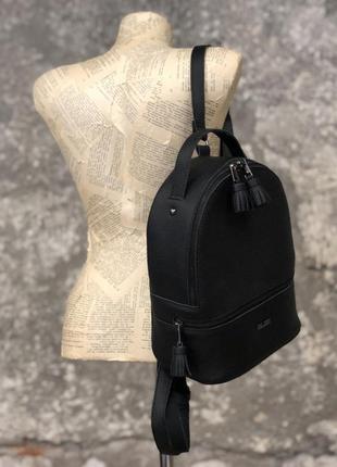 Кожаный женский рюкзак городской черный маленький рюкзачек на молнии из натуральной кожи