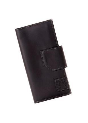 Мужской кожаный кошелек портмоне купюрник на магните черный grande pelle кожаный черный